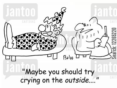 inside cartoon humor: 'Maybe you should try crying on the OUTSIDE....'