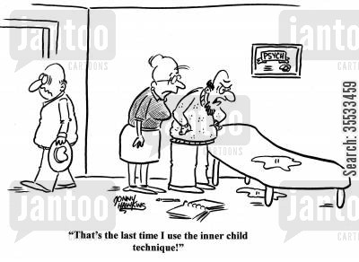 emotional health cartoon humor: Psychologist to secretary about wet spot: 'That's the last time I use the inner child technique!'