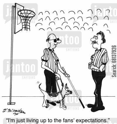 basketball fan cartoon humor: 'I'm just living up to the fans' expectations.'