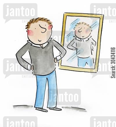 handsome cartoon humor: Looking in the mirror