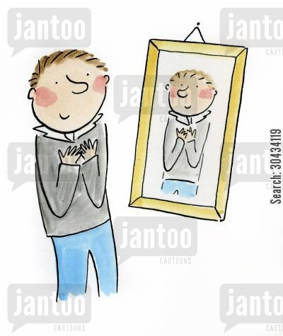 narcissist cartoon humor: Looking in the mirror