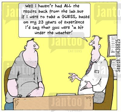 result cartoon humor: 'Well I haven't had All the results back from the lab, but if I were to take a GUESS based on my 23 years of experience I'd say that you were 'a bit under the weather'.'