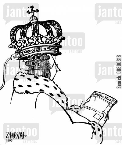 hairdryer cartoon humor: Queen with a crown-shaped hairdryer.