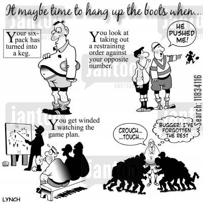 fit cartoon humor: Rugby oldies