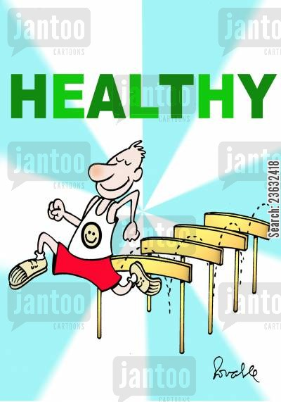 hurdling cartoon humor: Healthy.