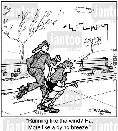 slow runners cartoon humor: 'Running like the wind? Ha. More like a dying breeze.'