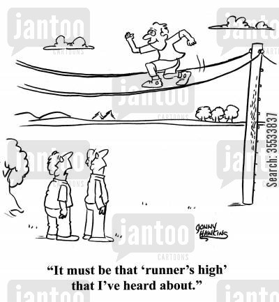 high wire cartoon humor: Man about jogger on high wire: 'It must be that 'runner's high' that I've heard about.'