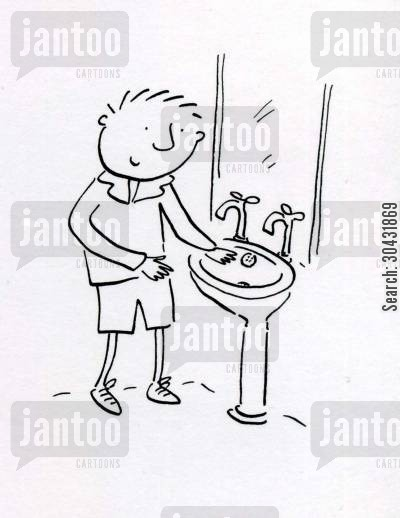clean hands cartoon humor: Now wash your hands.
