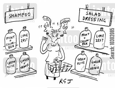green olives cartoon humor: Shampoo and Salad Dressing.