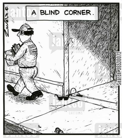 playing with words cartoon humor: A Blind Corner.