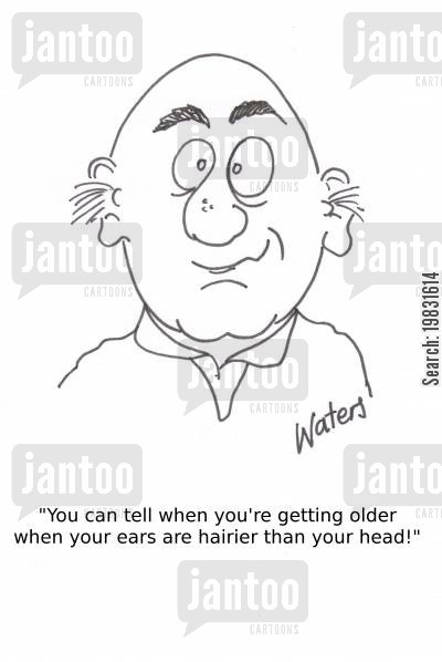 bald head cartoon humor: 'You can tell when you're getting older when your ears are hairier than your head!'