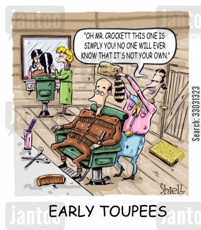 colony cartoon humor: 'Early Toupees'.