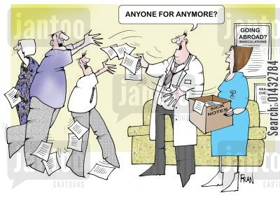 off work cartoon humor: Sick notes - Anyone for any more?