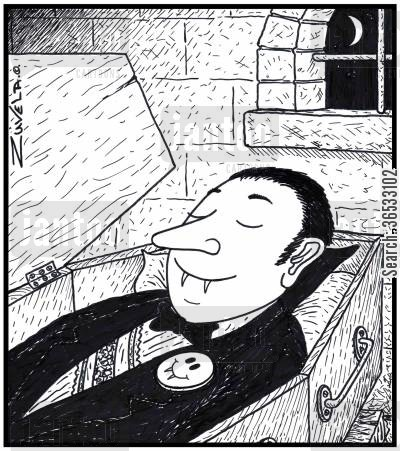 smiley face cartoon humor: Vampire laying in his coffin wearing a Smiley badge.