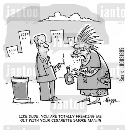 cigarette smoke cartoon humor: 'Like dude, you are totally freaking me out with your cigarette smoke man!!!!'