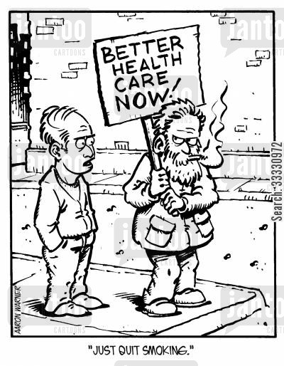 giving up smoking cartoon humor: 'Just quit smoking.'