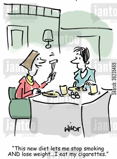 fad diet cartoon humor: This new diet lets me stop smoking and lose weight...I eat my cigarettes!