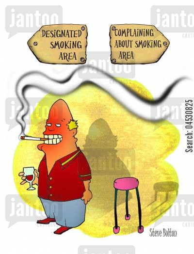 health risks cartoon humor: Designated smoking area - Complaining about smoking area.