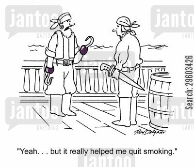 nicotine patch cartoon humor: 'Yeah. . . but it really helped me quit smoking.'