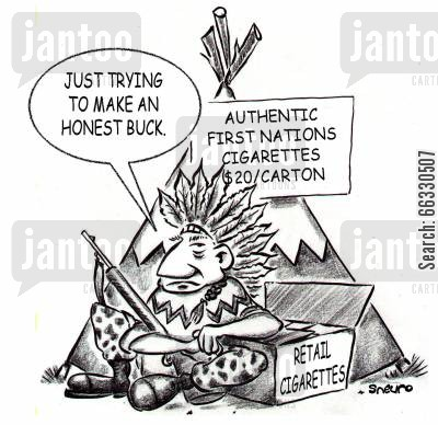 headdress cartoon humor: Just trying to make an honest buck.