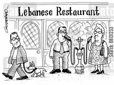 foreign food cartoon humor: Smoking hookah pipe outside Lebanese restaurant.
