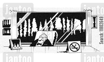 tree lovers cartoon humor: No smoking.