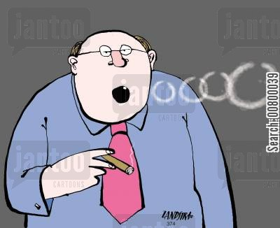 party tricks cartoon humor: Man with one tooth blowing smoke rings.