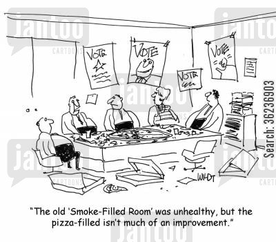 smoking room cartoon humor: 'The old smoke filled room was unhealthy, but the pizza filled isn't much of an improvement.'