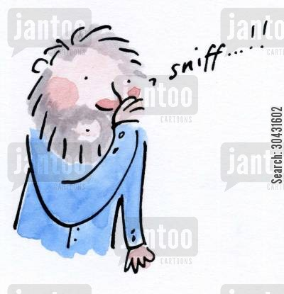 sniffs cartoon humor: Man flu.