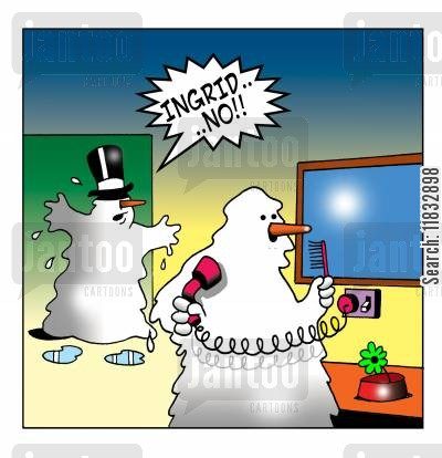 snow drift cartoon humor: Hairdrying snowman.