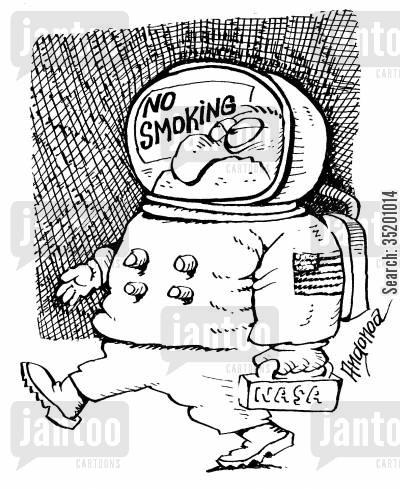no smoking sign cartoon humor: 'No smoking' sign in an astronaut's helmet.
