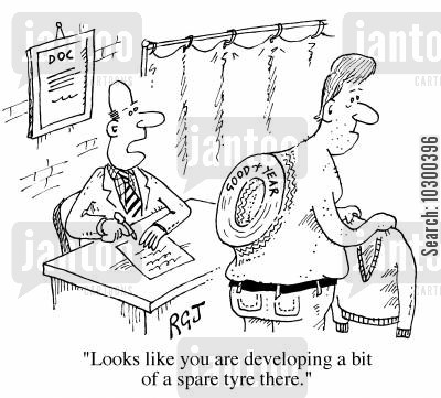 spare cartoon humor: Looks like you're developing a bit of a spare tyre there.