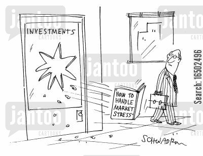 market stress cartoon humor: Book on 'How to Handle Market Stress' being thrown out of a window.