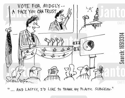 manifesto cartoon humor: '...And lastly, I'd like to thank my plastic surgeon.'