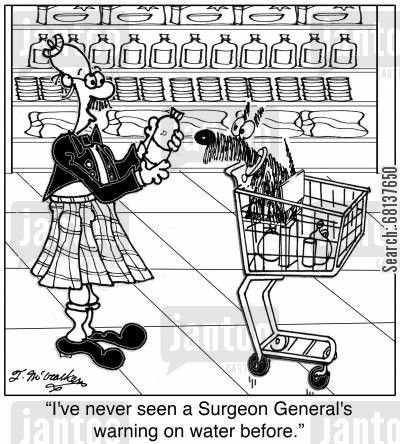 food safety cartoon humor: 'I've never seen a Surgeon General's warning on water before.'