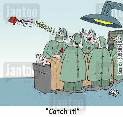 heart operations cartoon humor: 'Catch it!'