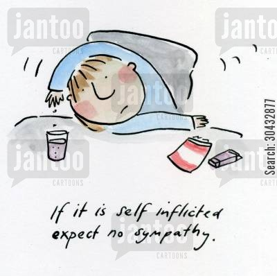 the morning after cartoon humor: If it is self inflicted expect no sympathy.