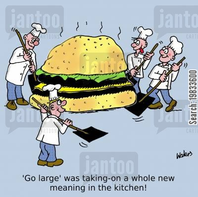 burger joint cartoon humor: 'Go-large' was taking on a whole new meaning in the kitchen!