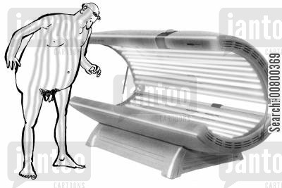 sunbed cartoon humor: Coming off a sunbed with a stripy tan.