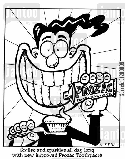 grins cartoon humor: Prozac toothpaste