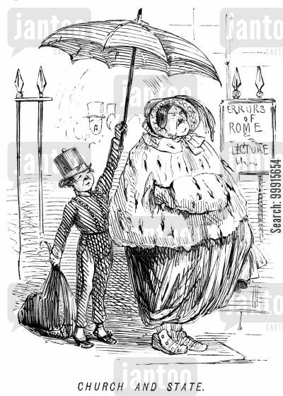 church and state cartoon humor: Porter holding an umbrella over an obese woman outside an 'Errors of Rome' lecture