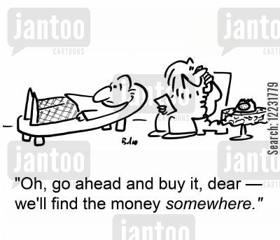 medical charges cartoon humor: 'Oh, go ahead and buy it, dear — we'll find the money somewhere.'