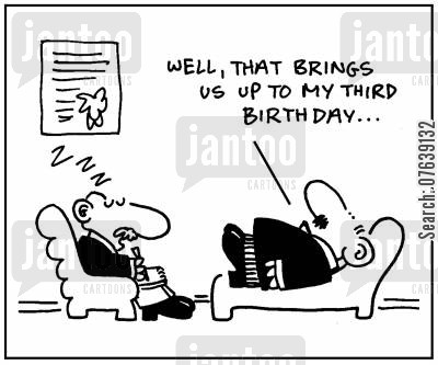 snoozes cartoon humor: 'Well, that brings us up to my third birthday...'
