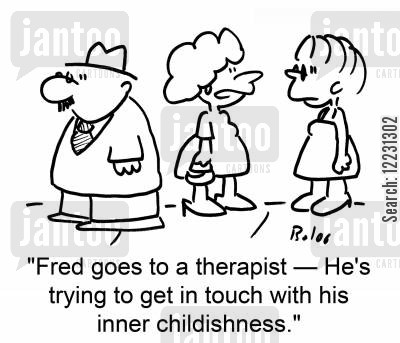 inner children cartoon humor: 'Fred goes to a therapist — he's trying to get in touch with his inner childishness.'