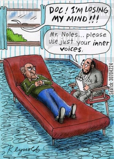 inner voice cartoon humor: 'Please use just your inner voices.'