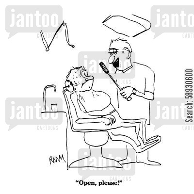 tooth care cartoon humor: 'Open, please!'