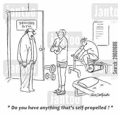 exercise bike cartoon humor: 'Do you have anything that's self-propelled?'