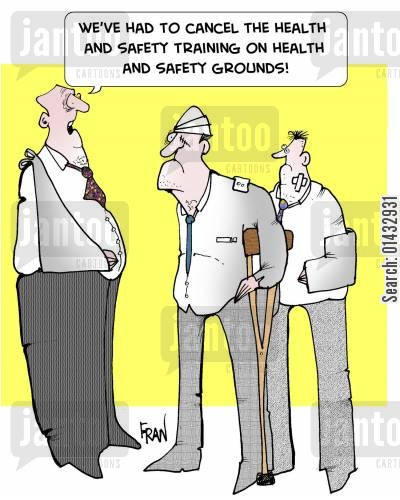 training days cartoon humor: We've had to cancel the health and safety training on health and safety grounds!