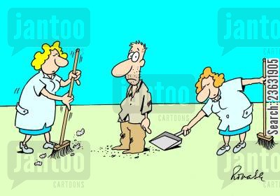 dustpan cartoon humor: Tramp getting sweeped up by cleaning ladies.