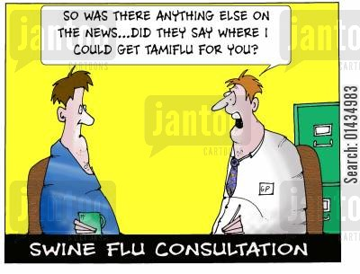 health scare cartoon humor: Swine flu consultation
